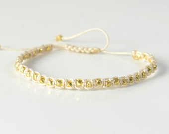 Sterling silver gold vermeil beads  adjustable bracelet.Macrame woven bracelet