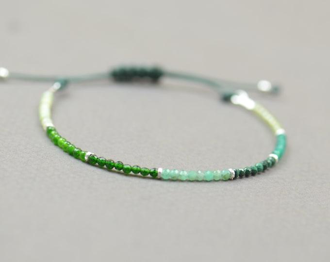 Opal,Jade,Agate,Emerald,Malachite,Spinel,Peridot bracelet.Sterling silver bracelet.Green gemstones