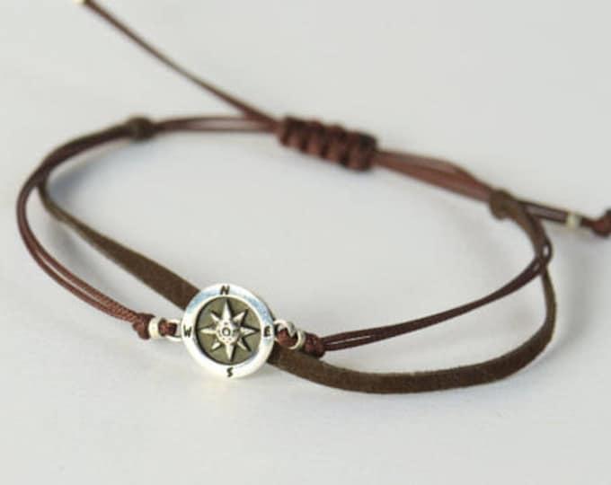 Sterling Silver Compass charm bracelet. Mens bracelet.Wind Rose