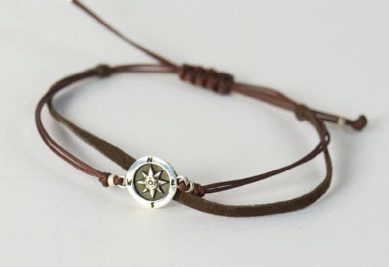 Sterling Silver Compass charm bracelet. Mens bracelet.Wind image 0