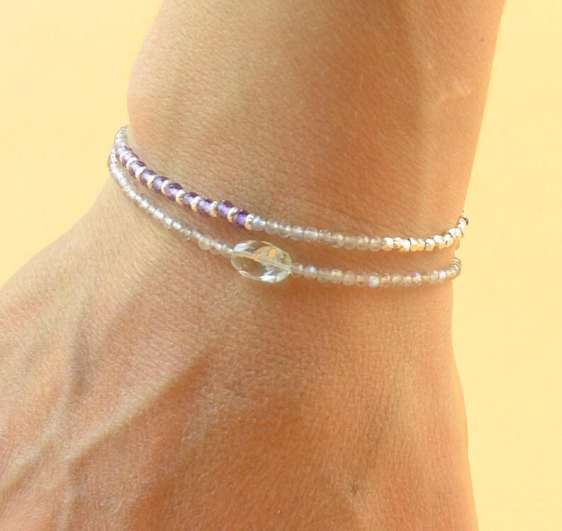 pink quartz Double strand multi gemstones and sterling silver beads bracelet.Dainty bracelet.Wrap.Amethyst,Labradorite,Aquamarine