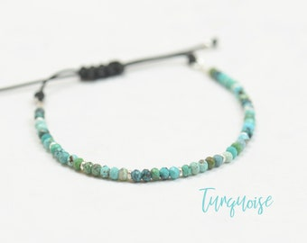 Sterling silver and African turquoise beads bracelet