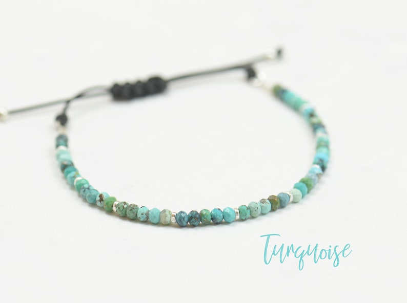 Sterling silver and African turquoise beads bracelet image 0