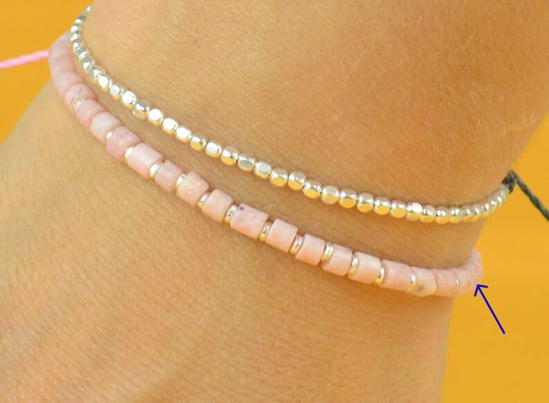 Sterling silver and pink opal bracelet image 0