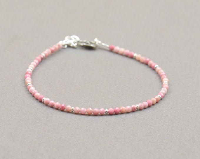 Rhodonite and sterling silver beads bracelet