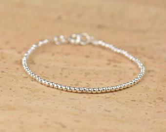 Sterling silver beads  bracelet.Sterling silver clasp