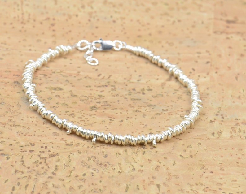 Sterling silver beads  bracelet.Irregular different beads image 0