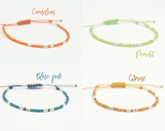 Choose gemstone.Bracelet with custom personalized tiny gemstone and sterling silver beads with cord.Adjustable knot.Birthstone bracelet.