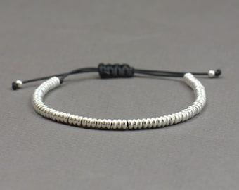 Sterling Silver beaded friendship bracelet.Woven bracelet.Macrame bracelet.Braided Bracelet.Donut beads