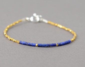 Sterling silver  vermeil gold and Lapis lazuli bracelet