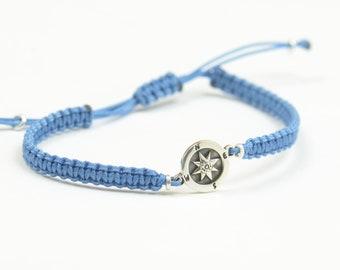 Sterling Silver Compass charm bracelet. Mens bracelet.Womens bracelet.Wind Rose