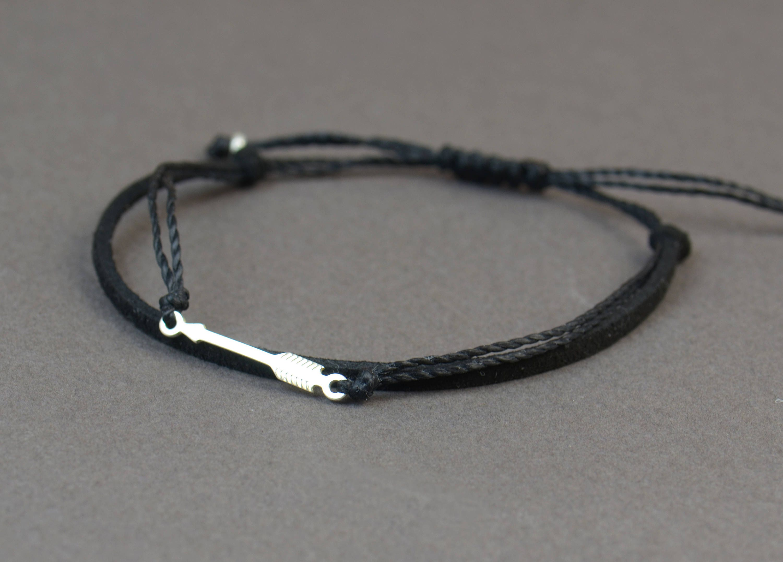 Sterling Silver Arrow Charm Bracelet Mens Bracelet