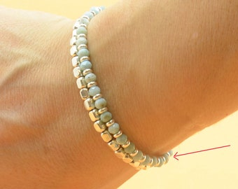 Larimar bracelet.Macrame bracelet.Woven bracelet,braided bracelet.Sterling silver bracelet.Blue Gemstone