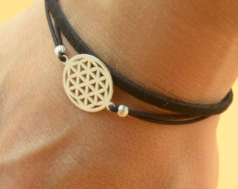 Sterling Silver Flower of life charm bracelet. Mens women bracelet.Good Karma bracelet.Circle of life