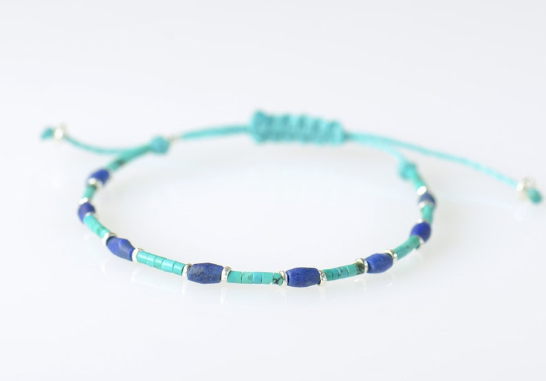 Sterling silver turquoise and Lapis lazuli bracelet image 1