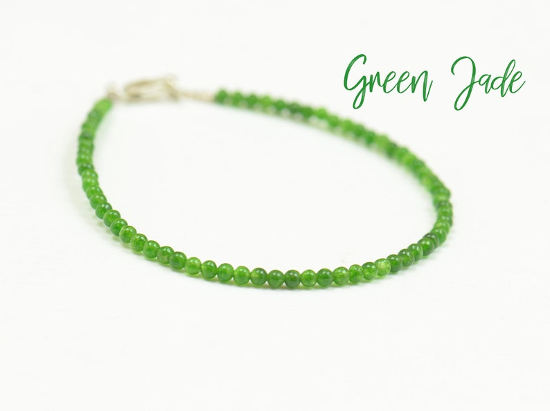 Green Jade and  Sterling silver clasp bracelet image 0