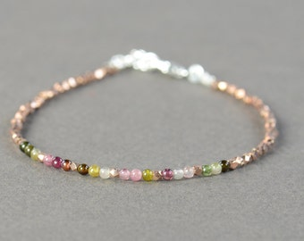 Rose gold Sterling silver and turmaline beads  bracelet