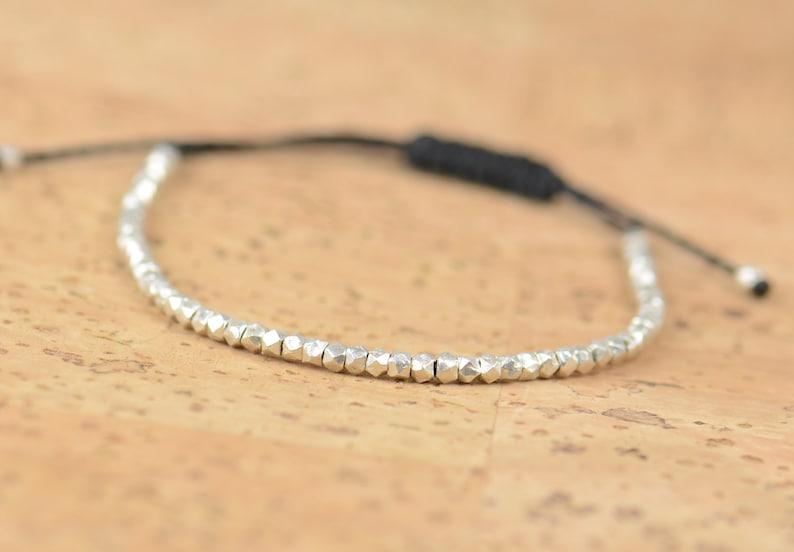 Faceted sterling silver beads  adjustable  bracelet image 0