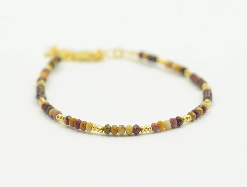 Mookaite and sterling silver beads  gold vermeil bracelet image 0