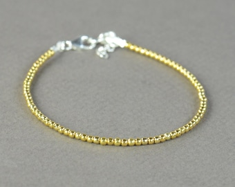 Vermeil Gold Sterling silver beads bracelet.Sterling silver clasp