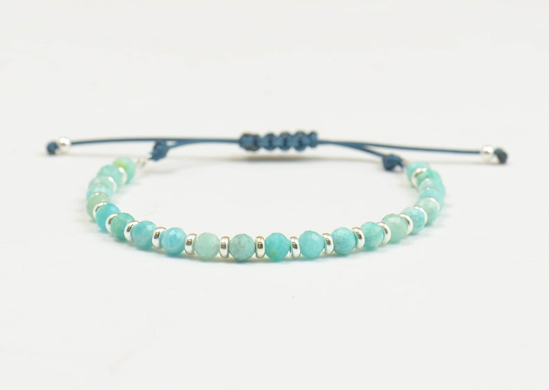 Amazonite and silver bracelet.Silver Thread Bracelet image 0