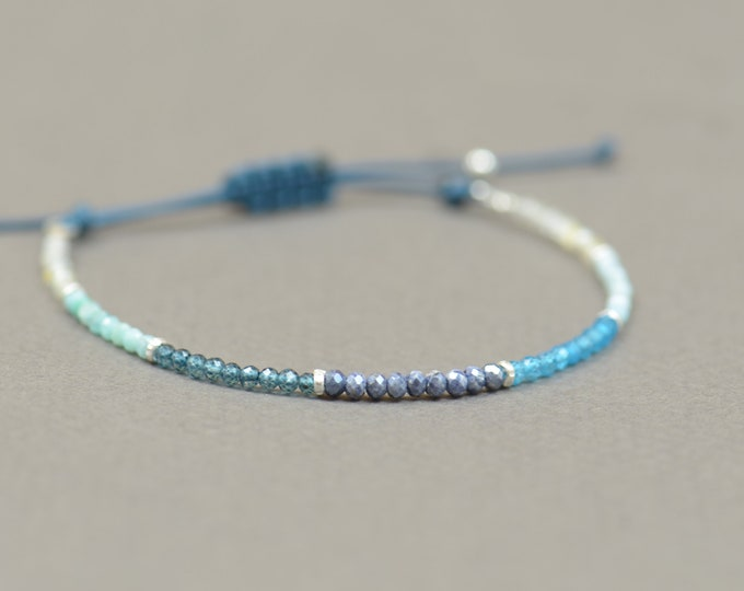 Larimar,London blue topaz,apatite,sapphire,moonstone,turquoise and amazonite bracelet.Sterling silver bracelet.Blue gemstones