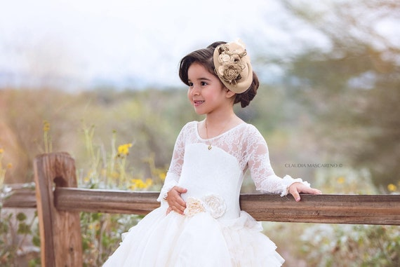 ea78d0b0a51e Ivory ruffles and Lace Flower girl dress ballgown style size 5 | Etsy