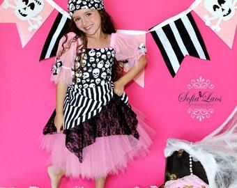 Custom Boutique Pink  Pirate tutu Halloween costume 4 dress