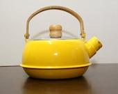 Vintage Retro Yellow Metal Tea Kettle