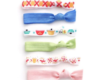 bd4fd285c3e6 The Vintage Pyrex Hair Tie Package - 1950s Themed Illustrations on Elastic  Ponytail Holders that Double as Bracelets by Mane Message