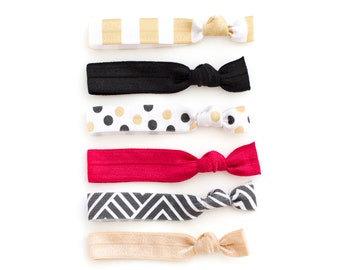60d786799070 The Ampersand Package - 6 Elastic Black White Gold and Red Stripe Polka Dot  Hair Ties that Double as Bracelets by Mane Message on Etsy