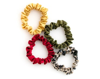 Silk Scrunchies | Gold, Green, Red and Leopard Print | Mane Message