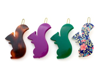 Vintage Squirrel Barrettes - French Plastic Hair Clips - Rare Made in France 1970s + 1980s New Old Vintage - sold by Mane Message