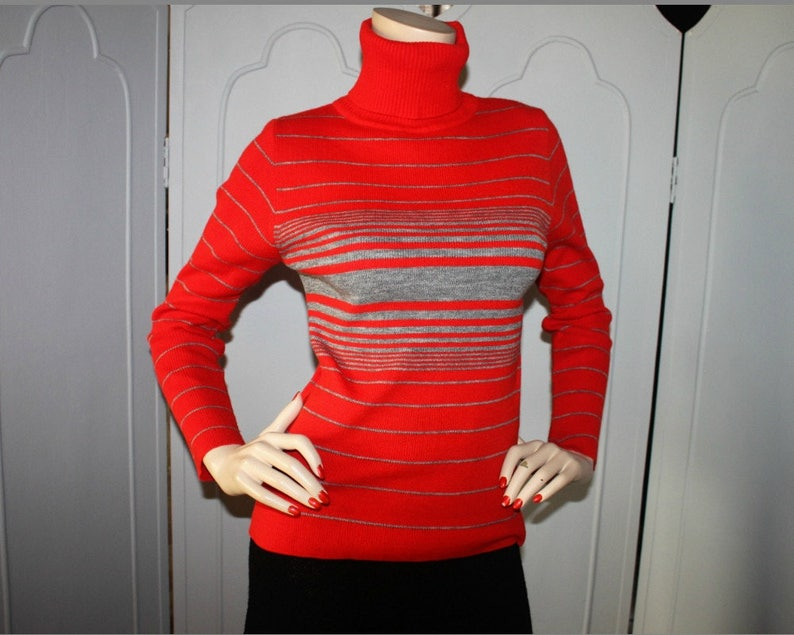Vintage Red and Gray Stripe Turtle Neck Sweater. Small to image 0