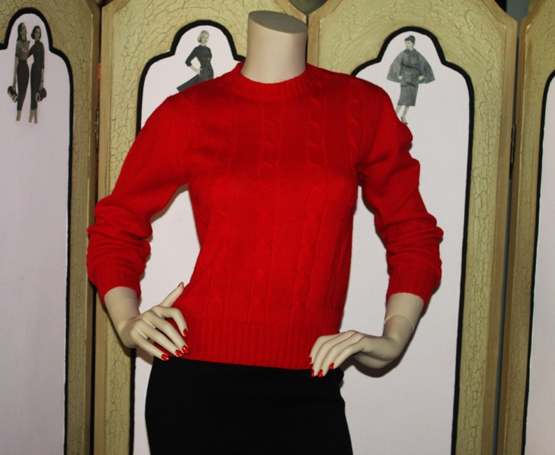 Vintage 80's Cherry Red Cable Knit Sweater by Gotham. image 0