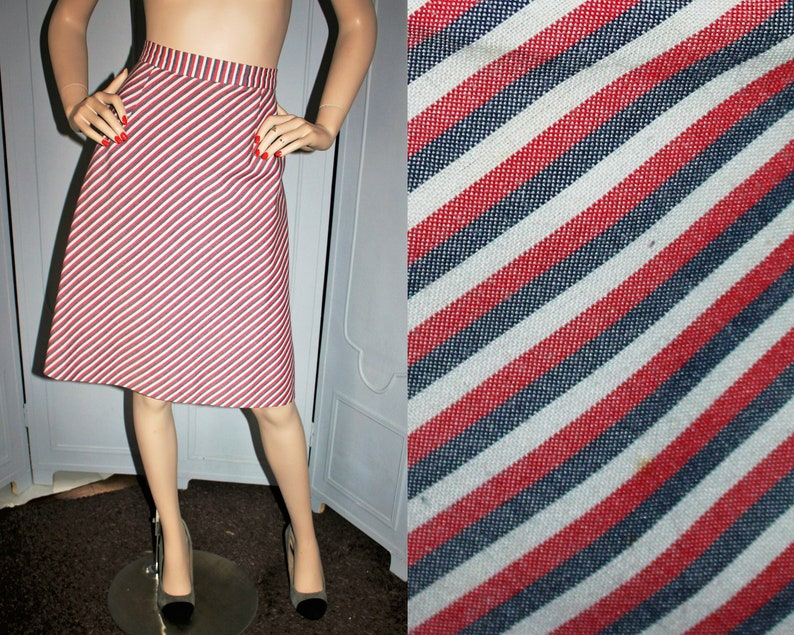 Vintage 70's Red White Blue Stripe A-Line Skirt. Small. image 0