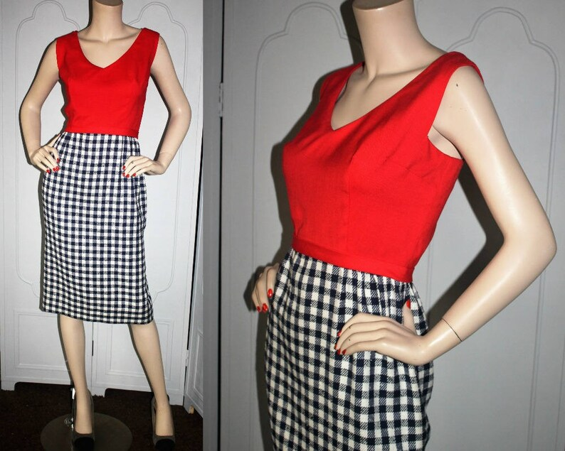Vintage 50's Red White and Navy Day Dress. Small to image 0