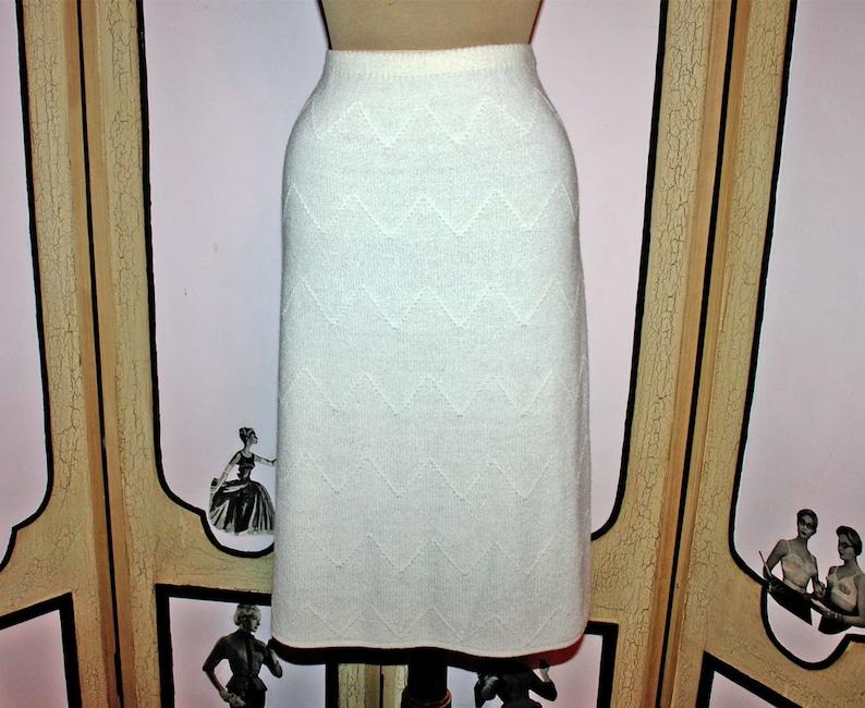 Vintage 1980's Cream Summer Knit Skirt with Zig Zag image 0