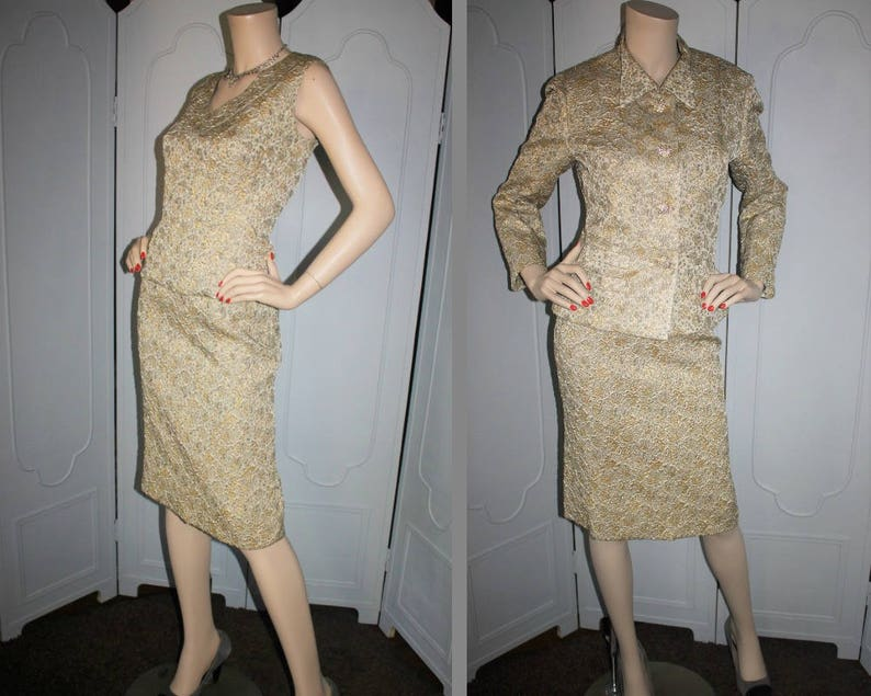 Vintage 60's Designer 3 Piece Brocade Skirt Dress Suit in image 0