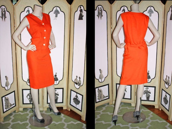 Vintage 1960's Tangerine Orange Two Piece Dress Se