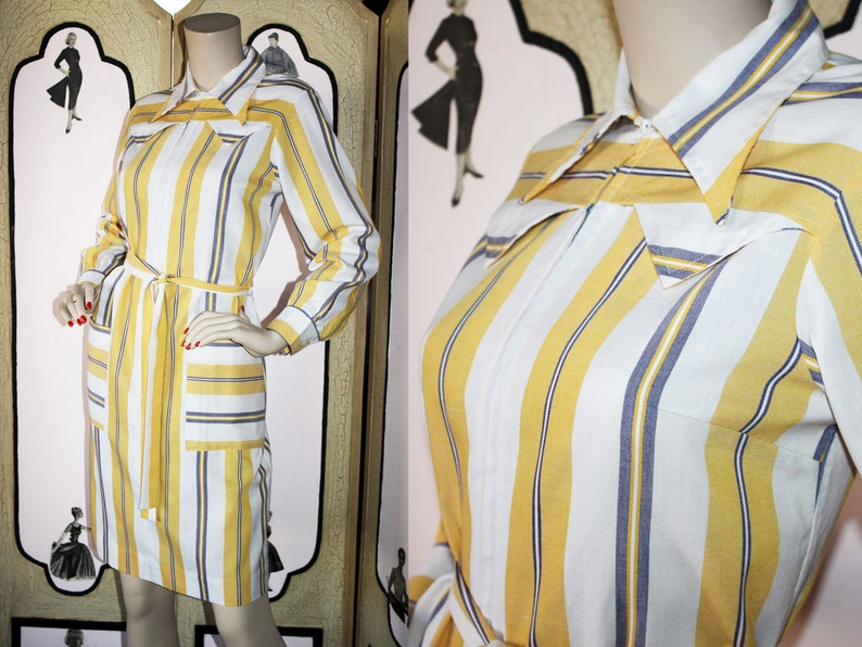 Vintage Western Shirt Dress by Skimma in Yellow White and image 0