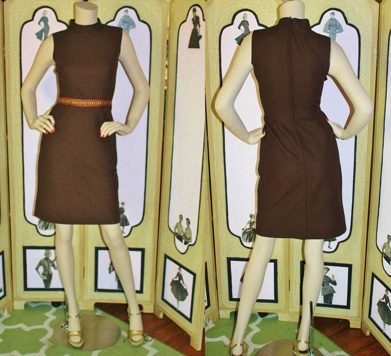 Vintage 1960's Chocolate Brown Dress with Southwestern image 0