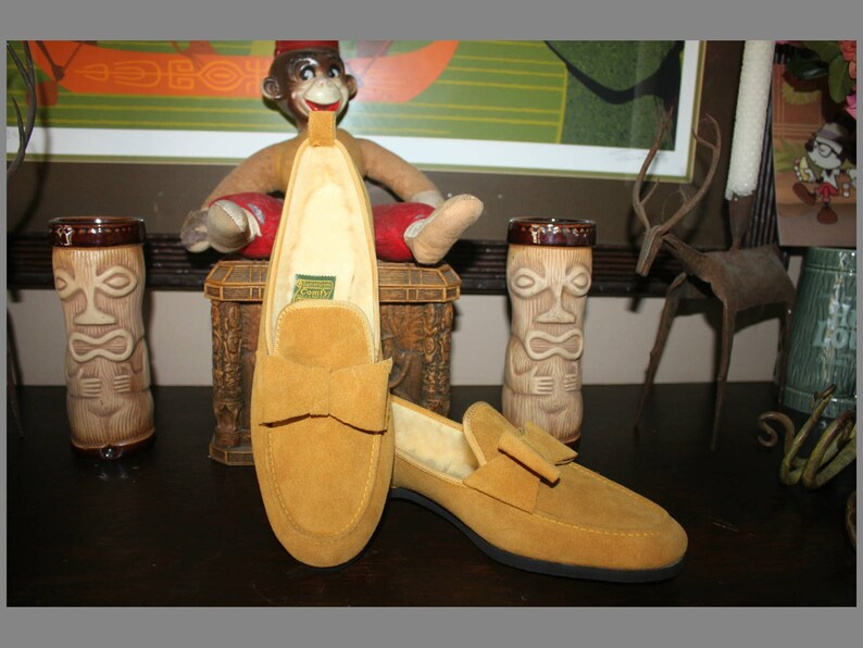 Vintage Daniel Green Slippers in Palomino Suede with Shearling image 0