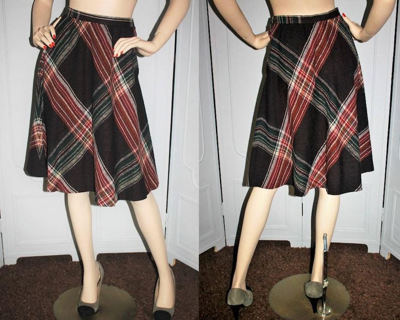 Vintage 70's Plaid Wool A-Line Skirt in Brown Orange Red image 0