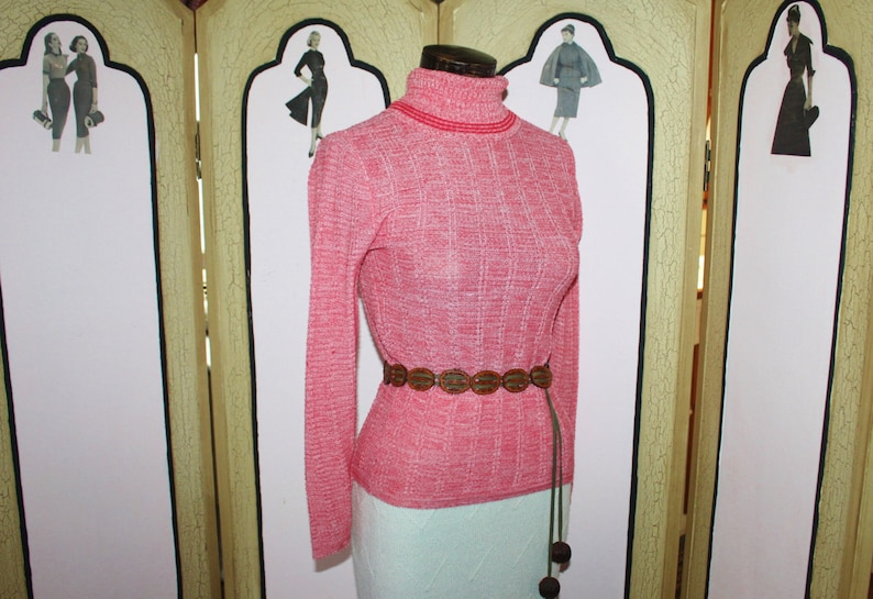 Vintage 1970's Red and White Lightweight Turtleneck image 0