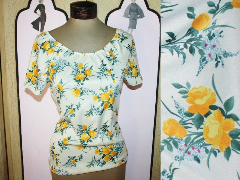 Vintage Yellow Rose Jersey Top. Small image 0