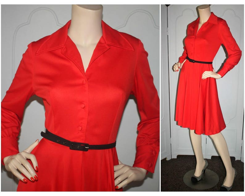 Gorgeous Vintage Cherry Red 1970's Button Front Dress. image 0