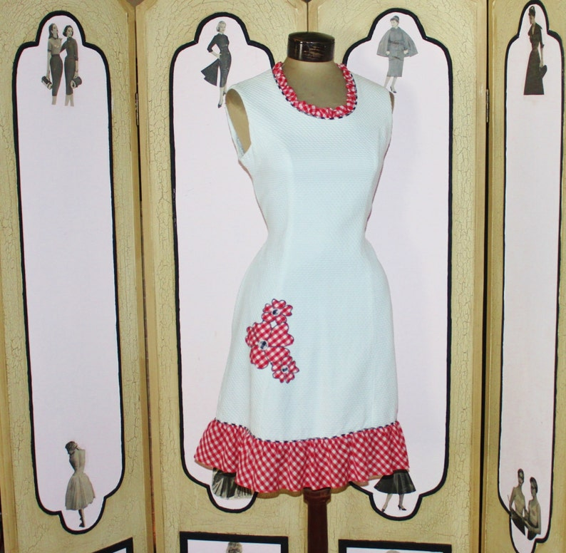 Vintage Evelyn Peterson Red and White Gingham Dress. Adorable. image 0