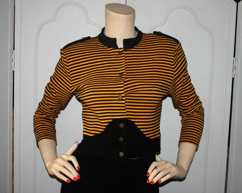 Vintage Yellow and Black Stripe Knit  Button Front Top or image 0