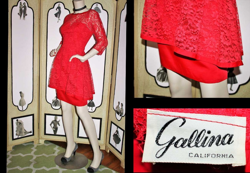 Vintage 60's High Low Peplum Dress is Red Lace from image 0